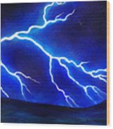 Blue Lightning Above The Ocean Wood Print