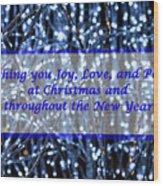 Blue Lights Abstract Christmas Wood Print