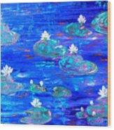 Blue Lily Pond Wood Print