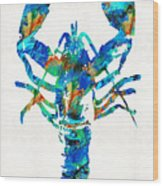 Blue Lobster Art By Sharon Cummings Wood Print