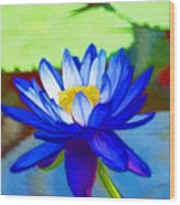 Blue Lotus Flower Wood Print