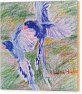 Blue Magpies Wood Print