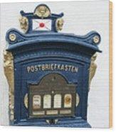 Blue Mailbox Wood Print