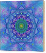 Blue Mandala For Heart Chakra Wood Print