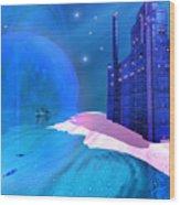 Blue Mansions Wood Print