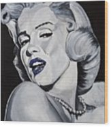 Blue Marilyn  Wood Print