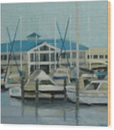 Blue Marina Wood Print