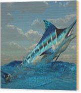 Blue Marlin Burst Wood Print
