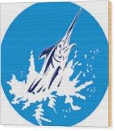Blue Marlin Circle Wood Print by Aloysius Patrimonio
