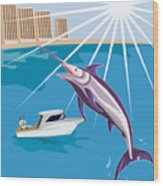 Blue Marlin Jumping Wood Print by Aloysius Patrimonio