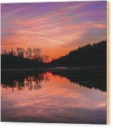 Blue Marsh Lake Sunset Wood Print