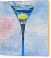 Blue Martini Wood Print