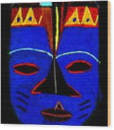 Blue Mask Wood Print by Angela L Walker