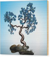 Blue Math  Tree 2 Wood Print
