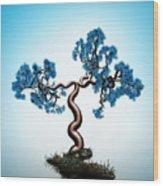 Blue Math  Tree Wood Print