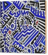 Blue Maze Wood Print