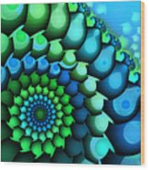 Blue Meets Green Wood Print