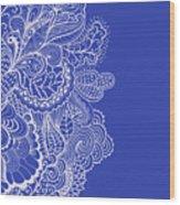 Blue Mehndi Wood Print