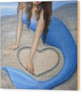 Blue Mermaid's Heart Wood Print by Sue Halstenberg