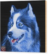 Blue Modern Siberian Husky Dog Art - 6024 - Bb Wood Print