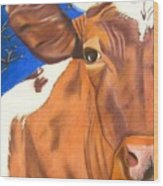 Blue Moo Wood Print