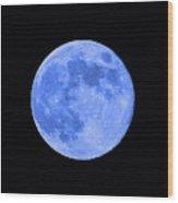 Blue Moon Close Up Wood Print