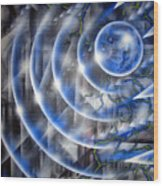 Blue Moon Falling Wood Print