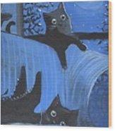 Blue Moon Halloween Wood Print