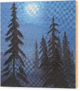 Blue Moon Wood Print
