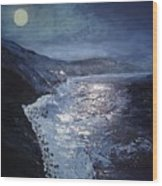 Blue Moon Over Big Sur Wood Print
