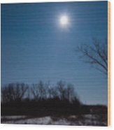 Blue Moon Over Kansas Wood Print