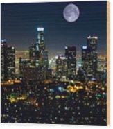 Blue Moon Over L.a. Wood Print