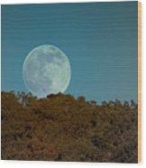 Blue Moon Risign Wood Print