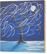 Blue Moon Willow In The Wind Wood Print