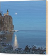 Blue Moonrise At Split Rock Lighthouse Wood Print