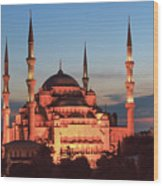 Blue Mosque At Dusk Wood Print