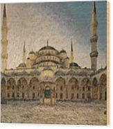 Blue Mosque At Sunrise Wood Print