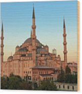 Blue Mosque Blue Hour Wood Print