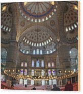 Blue Mosque Interior Wood Print