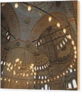 Blue Mosque Interior Wood Print by Sami Sarkis