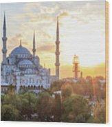 Blue Mosque Sunset Wood Print