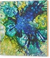 Blue Moth Wood Print