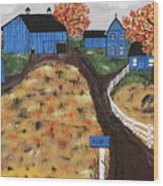 Blue Mountain Farm Wood Print