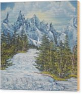 Blue Mountain Torrent Wood Print