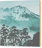 Blue Mountain Winter Landscape Wood Print