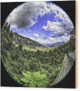 Blue Mountains Fisheye Wood Print