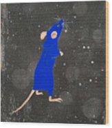 Blue Mouse Wood Print