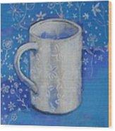 Blue Mug With Flowers Wood Print