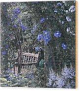 Blue Muted Garden Respite Wood Print