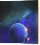 Blue Mystic Nebula Wood Print